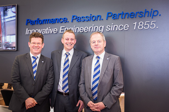 From left: Managing Director Jens Beutelspacher, Director Curing Presses Dr. Joern Seevers, Managing Director Guenter Simon