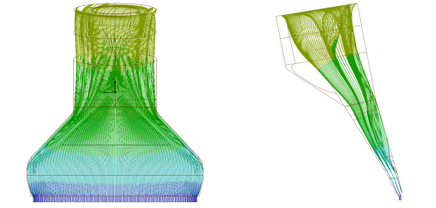 Flow simulation: Pressure distribution in flow channel