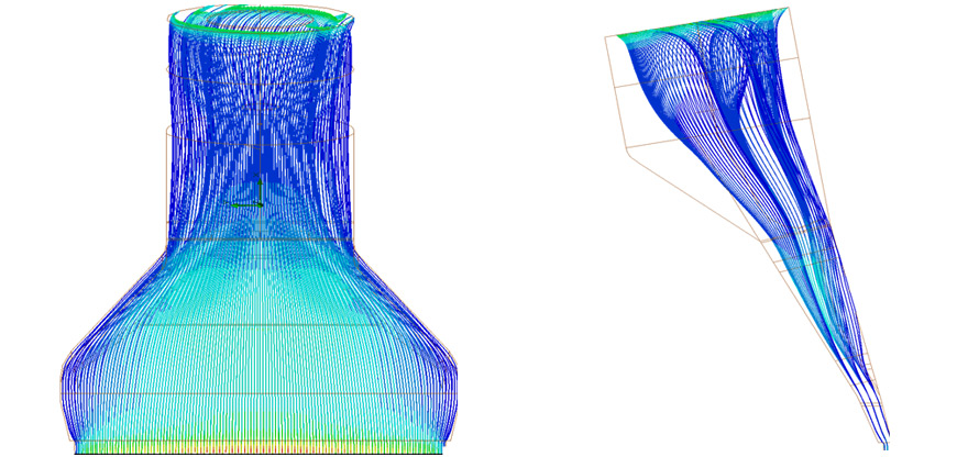 Flow simulation: Speed profile in flow channel